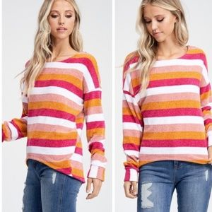 1 LEFT 🧡 Striped Oversized Chenille Knit Sweater